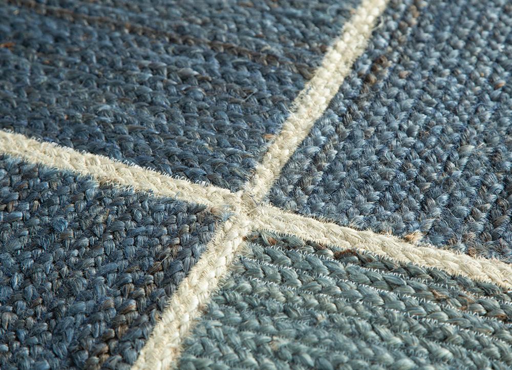 anatolia blue jute and hemp flat weaves Rug - CloseUp