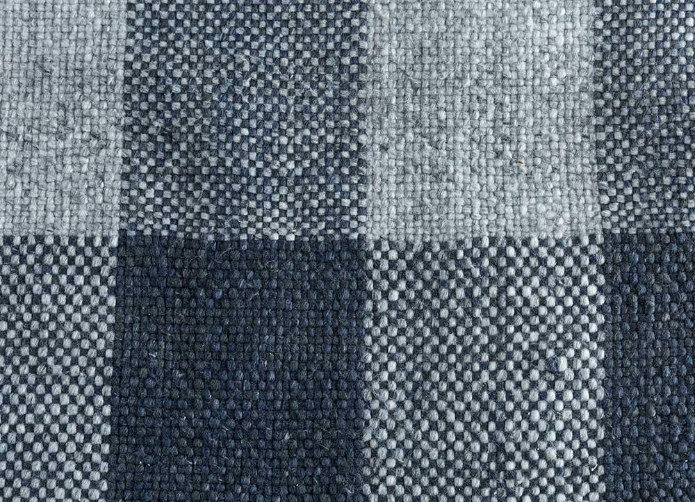anatolia blue polyester flat weaves Rug - CloseUp