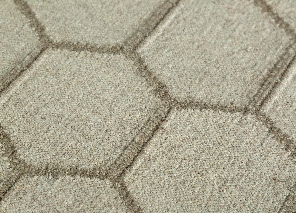 anatolia beige and brown wool flat weaves Rug - CloseUp