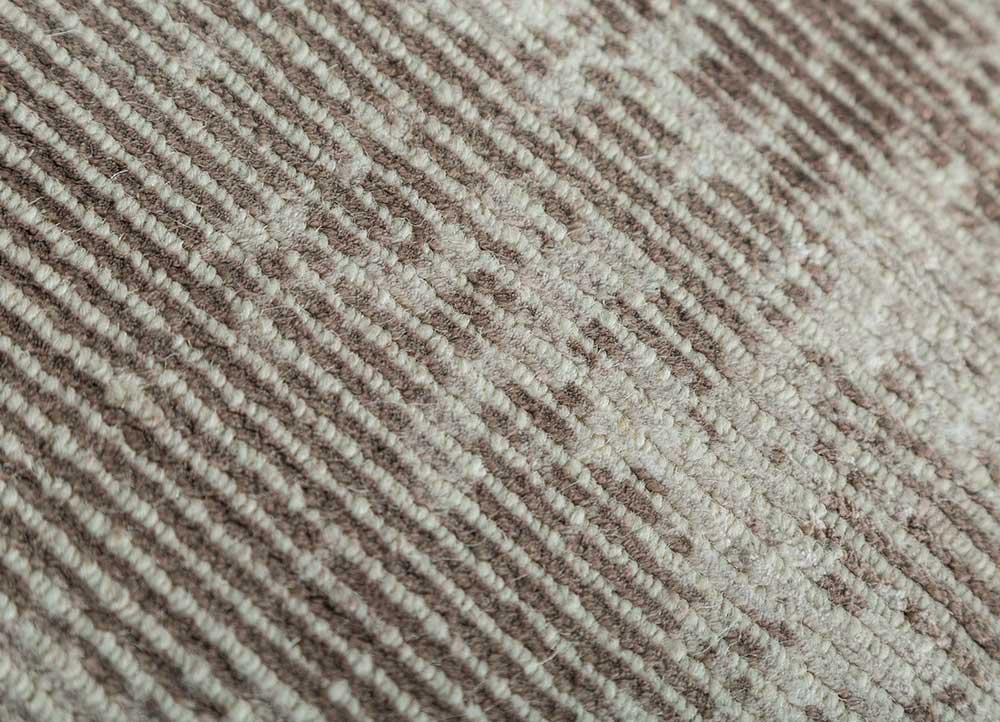 acar beige and brown wool and viscose hand loom Rug - CloseUp