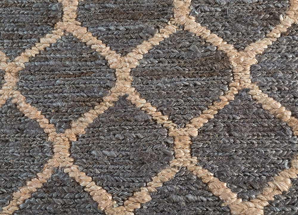 spatial grey and black jute and hemp jute rugs Rug - CloseUp