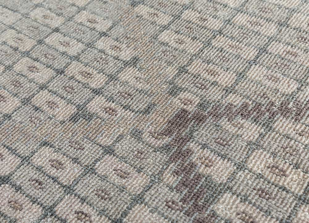 revolution blue wool hand knotted Rug - CloseUp