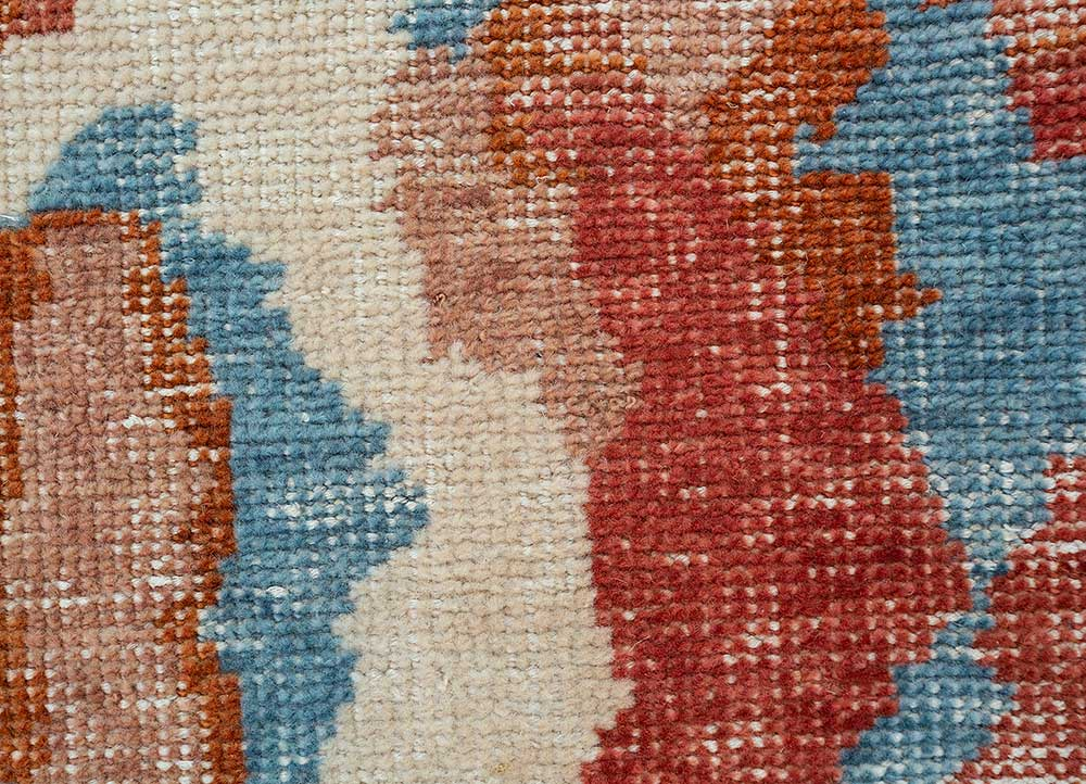 revolution red and orange wool hand knotted Rug - CloseUp
