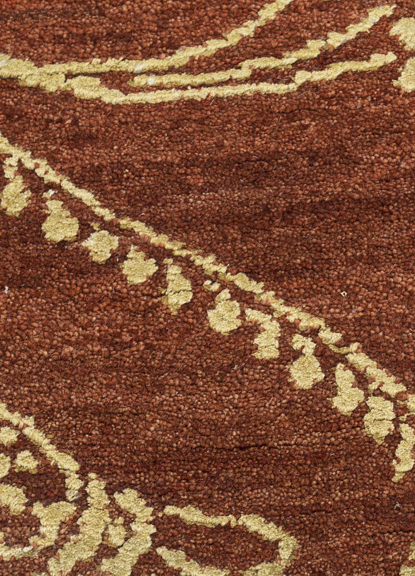 blithe red and orange wool and silk hand knotted Rug - CloseUp
