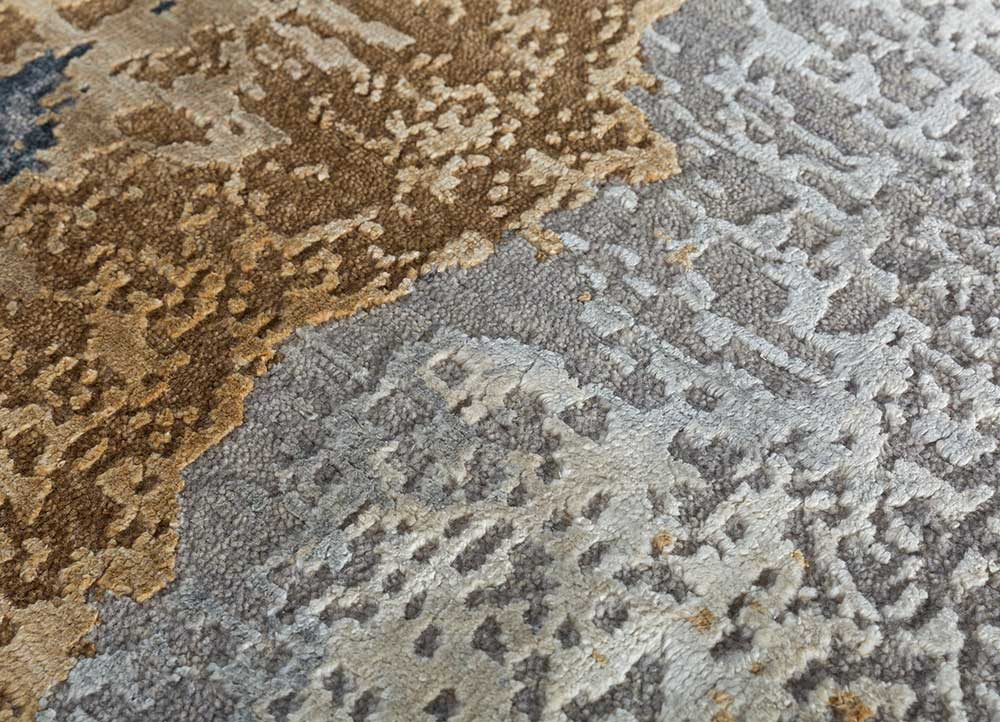 kibrast blue wool and silk hand knotted Rug - CloseUp