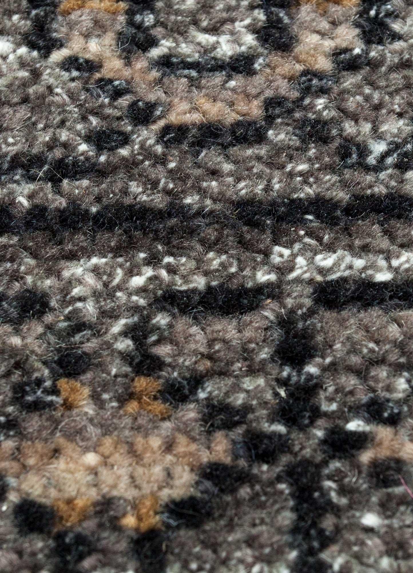 viscaya grey and black wool and viscose hand knotted Rug - CloseUp