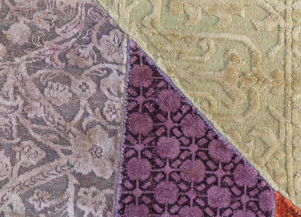 provenance red and orange wool and silk patchwork Rug - CloseUp
