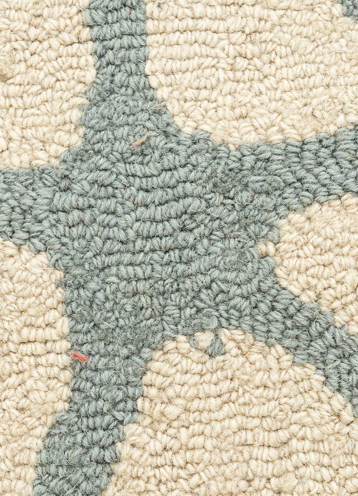 coastal blue wool hand tufted Rug - CloseUp