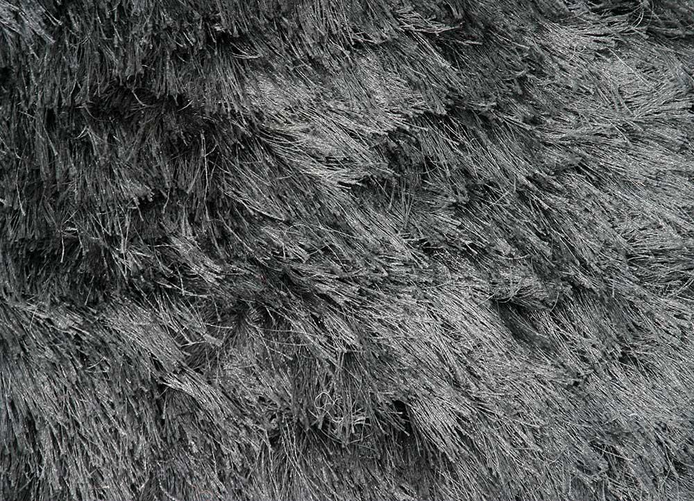 verve grey and black polyester shag Rug - CloseUp