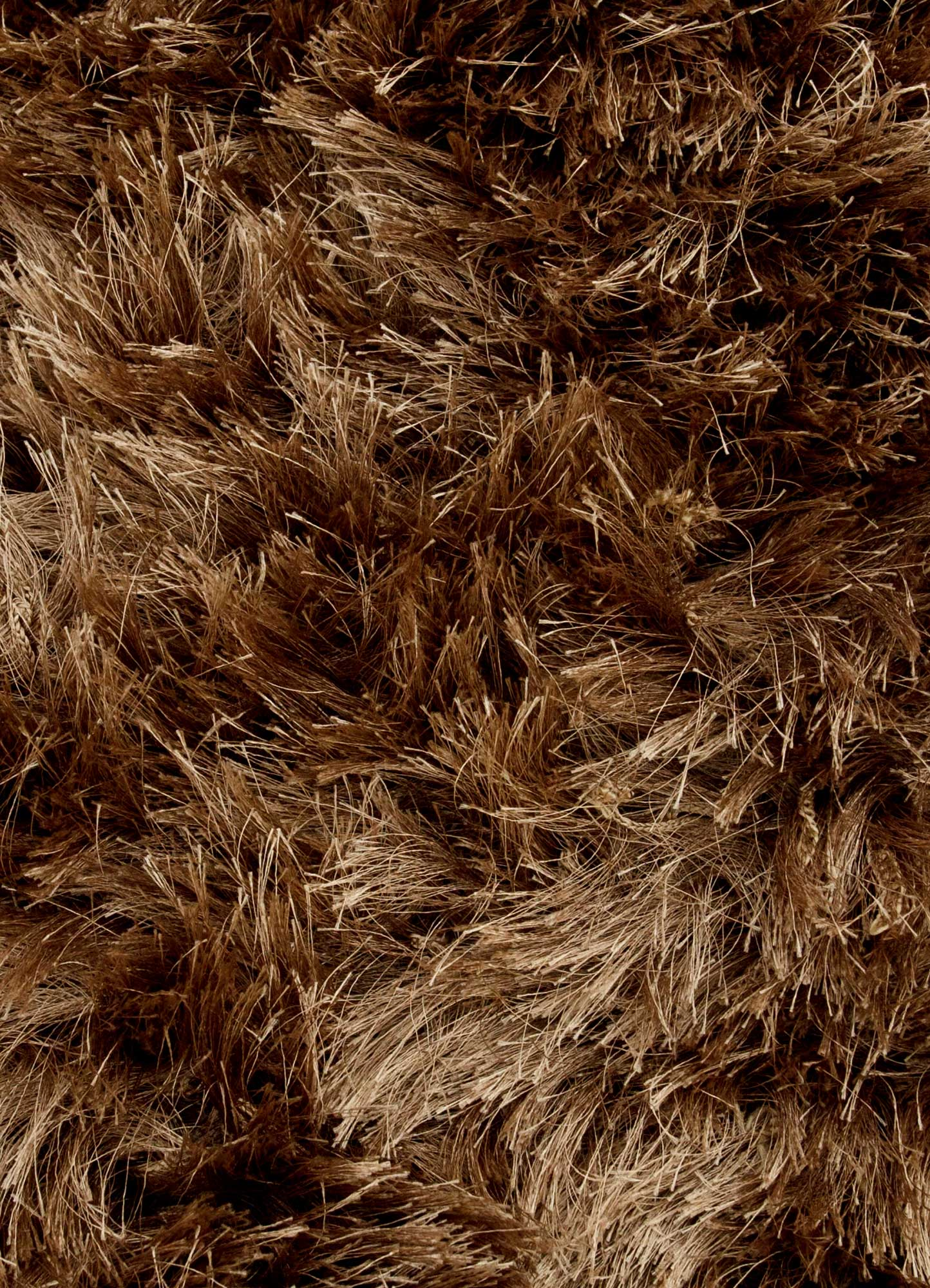 verve beige and brown polyester shag Rug - CloseUp