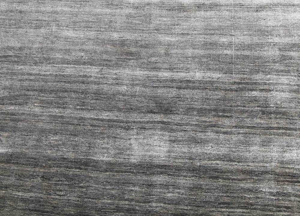yasmin grey and black bamboo silk hand loom Rug - CloseUp