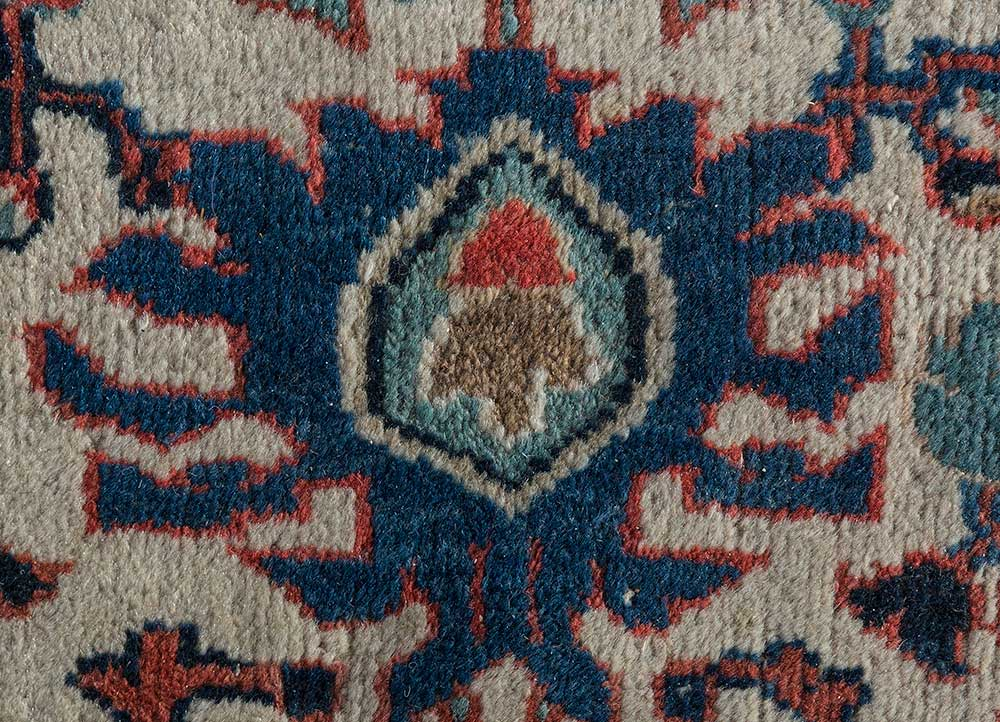 antique beige and brown wool hand knotted Rug - CloseUp