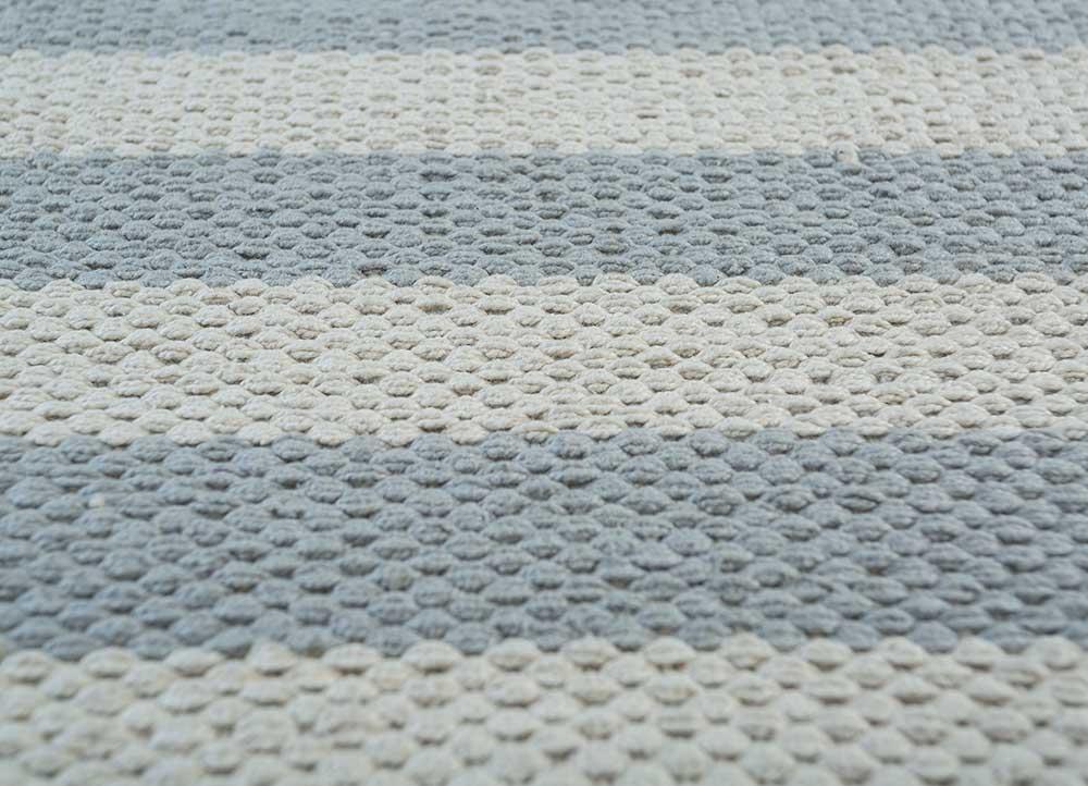 aqua ivory cotton flat weaves Rug - CloseUp