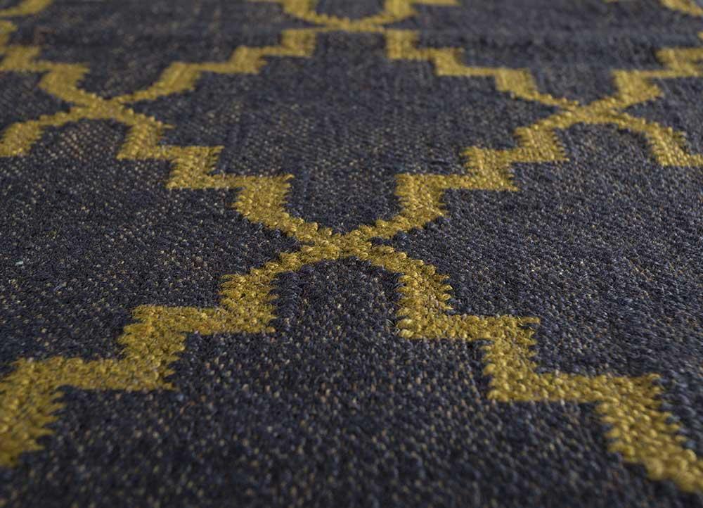 indusbar blue jute and hemp jute rugs Rug - CloseUp
