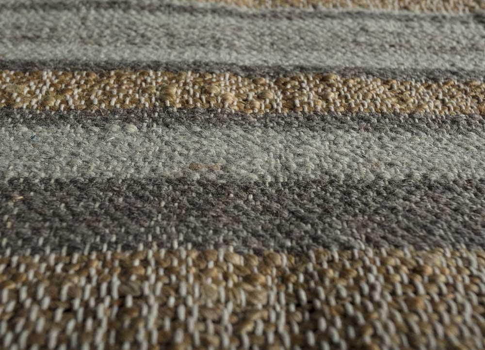 spatial beige and brown jute and hemp flat weaves Rug - CloseUp