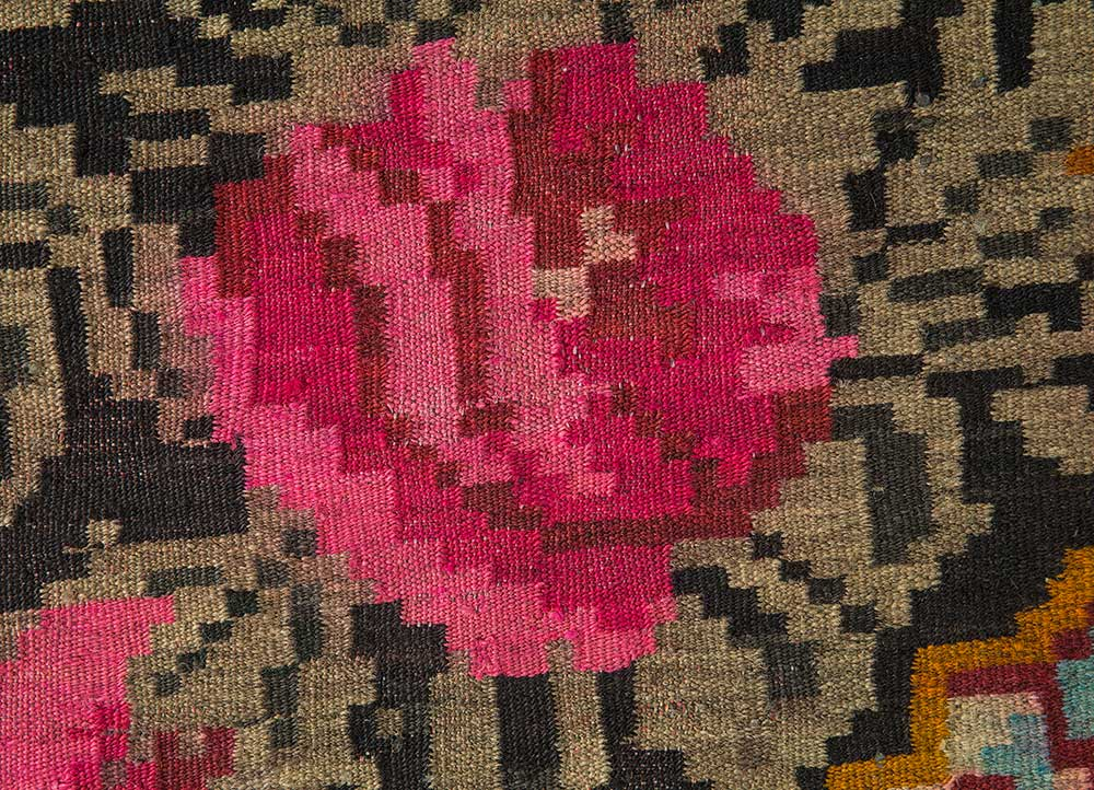 kilim red and orange wool hand knotted Rug - CloseUp