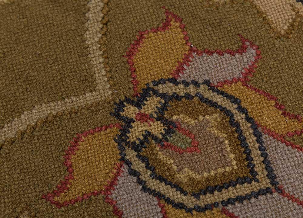 heritage green wool flat weaves Rug - CloseUp