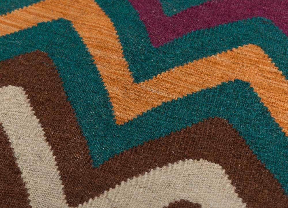 anatolia pink and purple wool flat weaves Rug - CloseUp