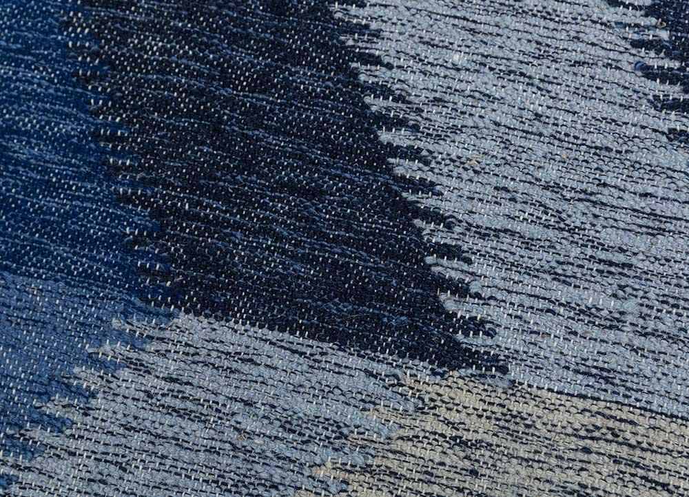 anatolia blue wool flat weaves Rug - CloseUp