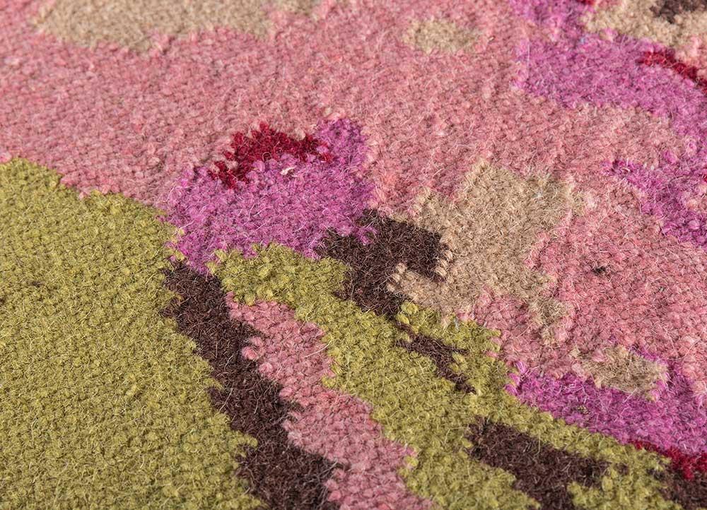 heritage pink and purple wool flat weaves Rug - CloseUp