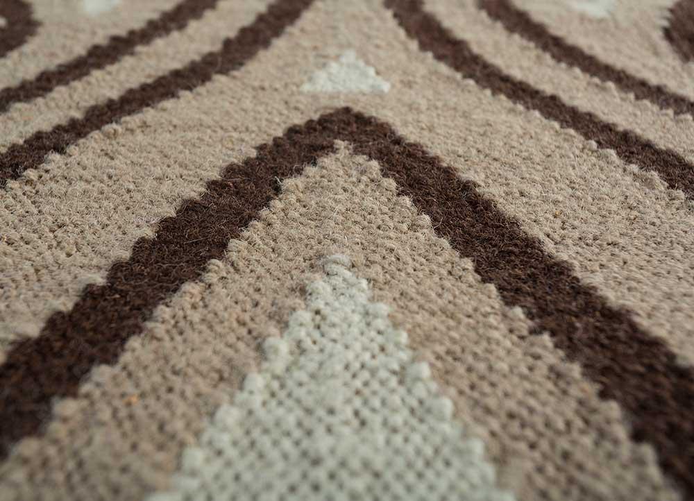 heritage gold wool flat weaves Rug - CloseUp