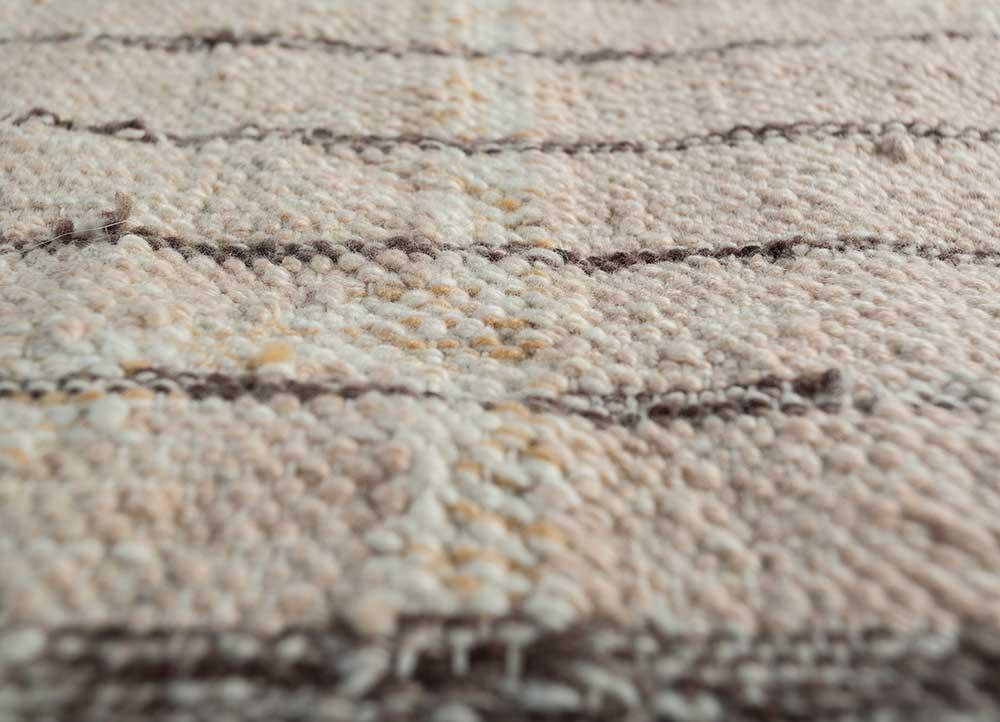 indusbar pink and purple wool flat weaves Rug - CloseUp
