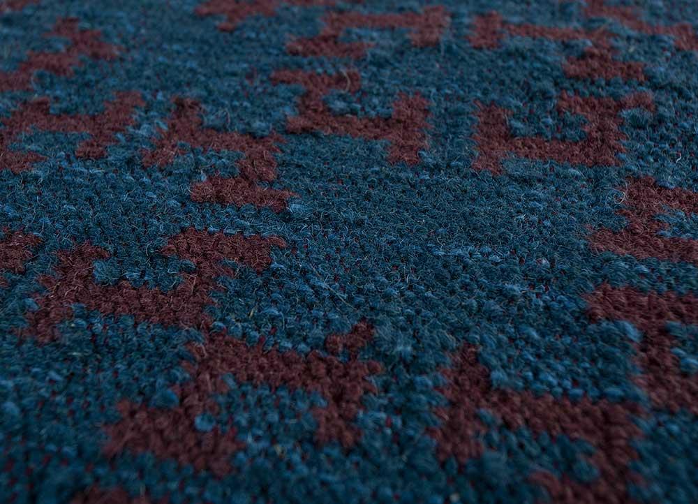 bedouin blue wool flat weaves Rug - CloseUp