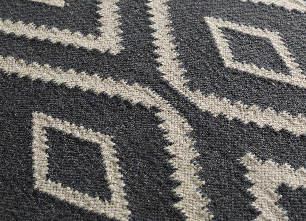 anatolia grey and black wool flat weaves Rug - CloseUp