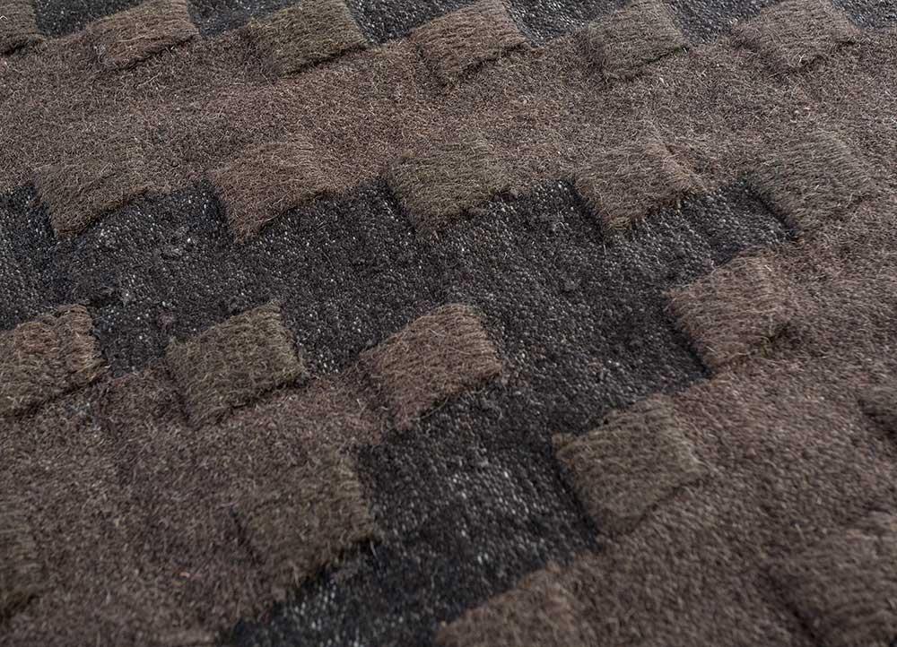 indusbar beige and brown wool flat weaves Rug - CloseUp