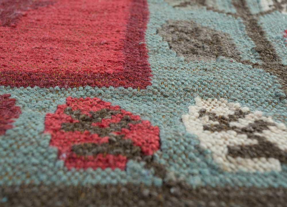 heritage red and orange wool flat weaves Rug - CloseUp