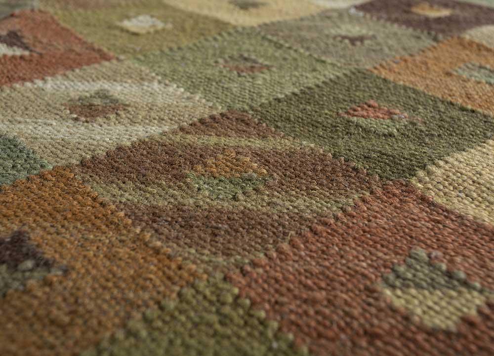 bedouin green wool flat weaves Rug - CloseUp