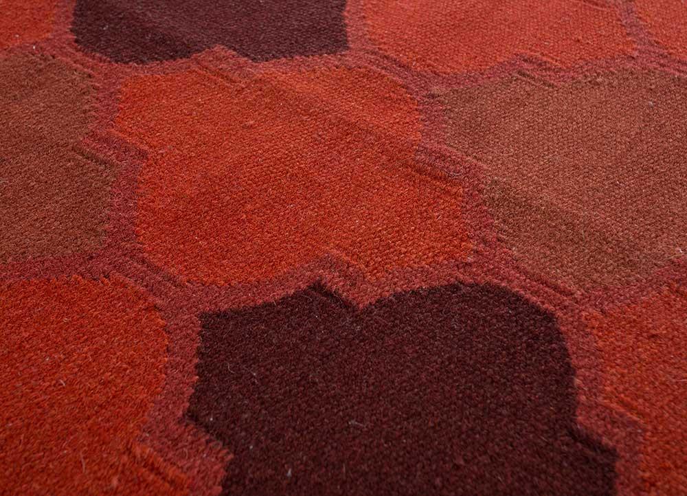 indusbar red and orange wool flat weaves Rug - CloseUp