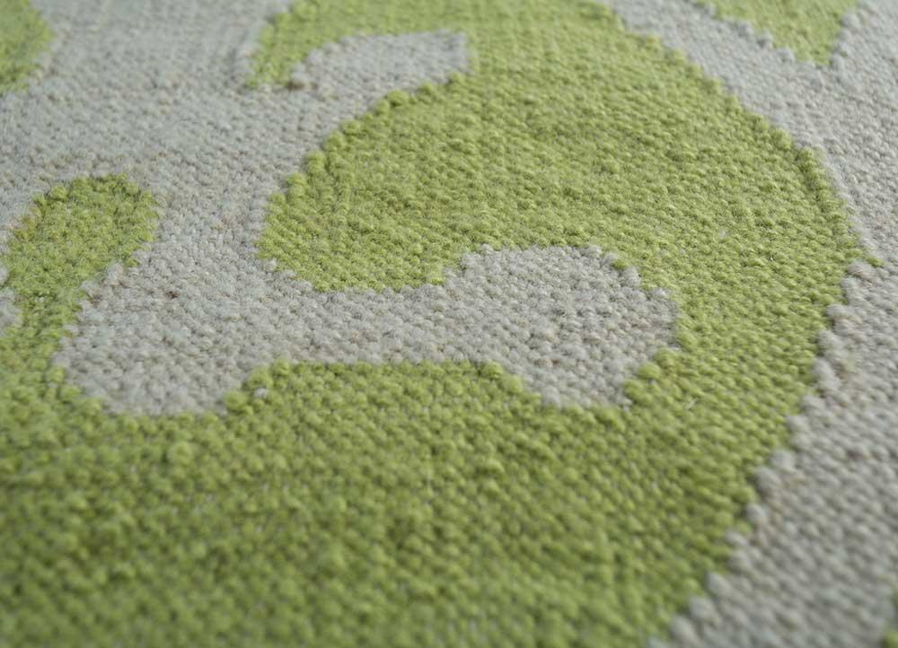 anatolia green wool flat weaves Rug - CloseUp