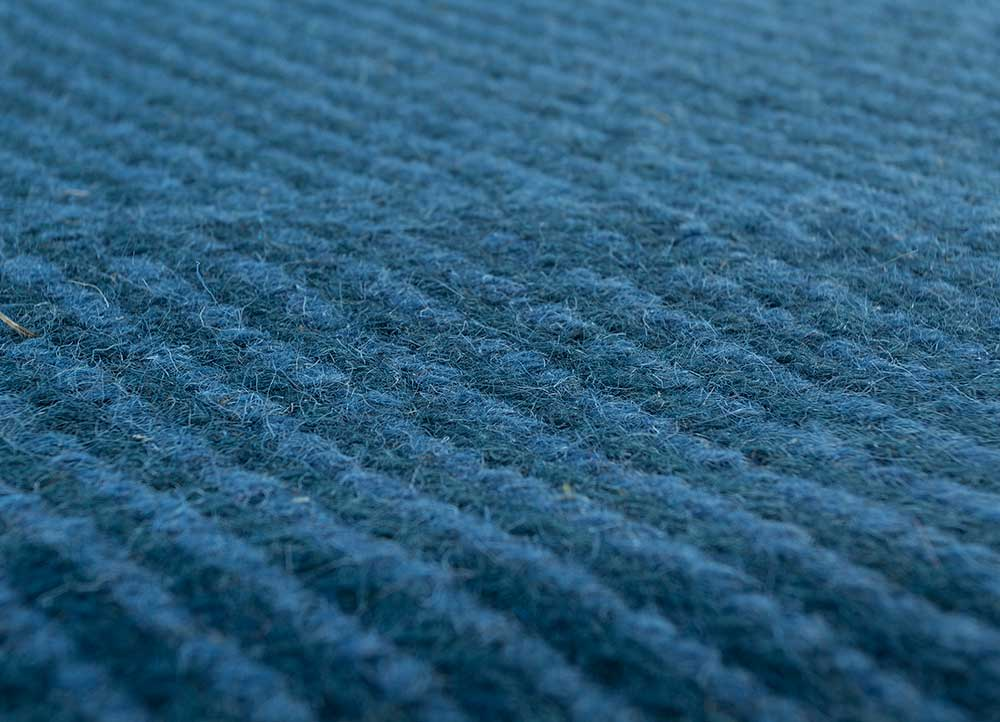 abrash blue wool flat weaves Rug - CloseUp
