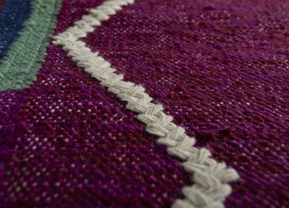 bedouin pink and purple wool flat weaves Rug - CloseUp