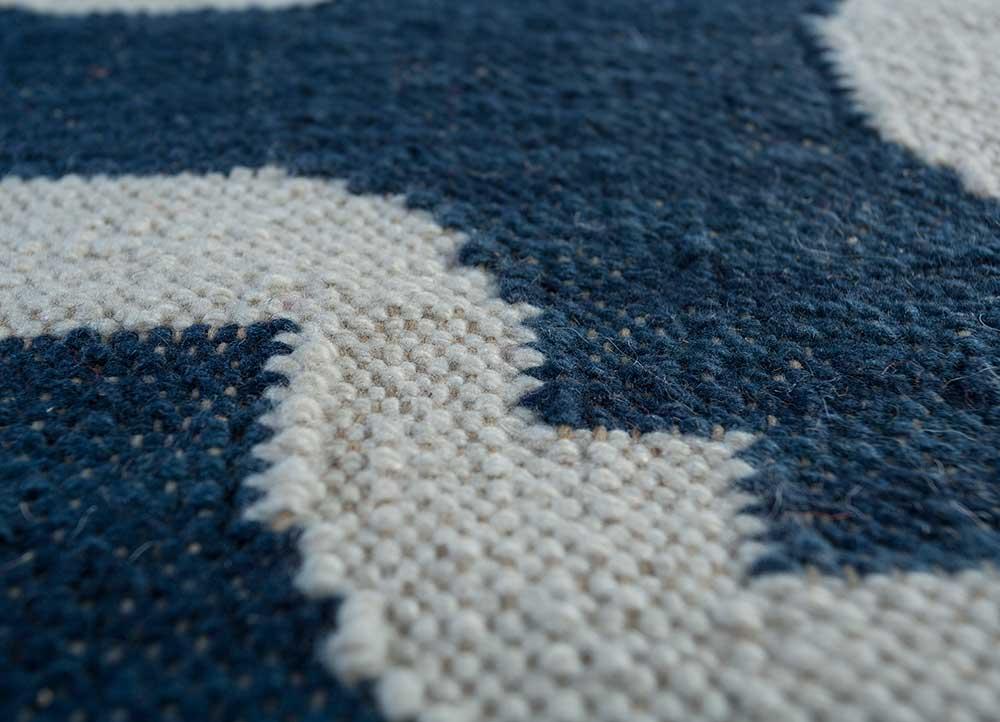 indusbar blue wool flat weaves Rug - CloseUp