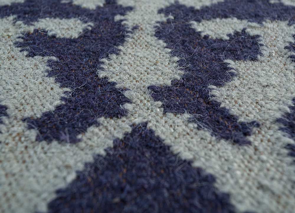 heritage blue wool flat weaves Rug - CloseUp