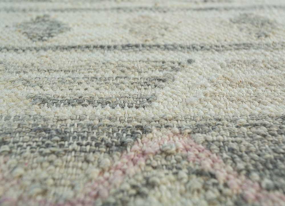 souk beige and brown wool flat weaves Rug - CloseUp