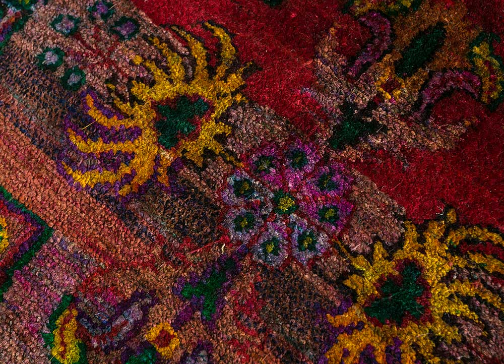 verna red and orange others hand knotted Rug - CloseUp