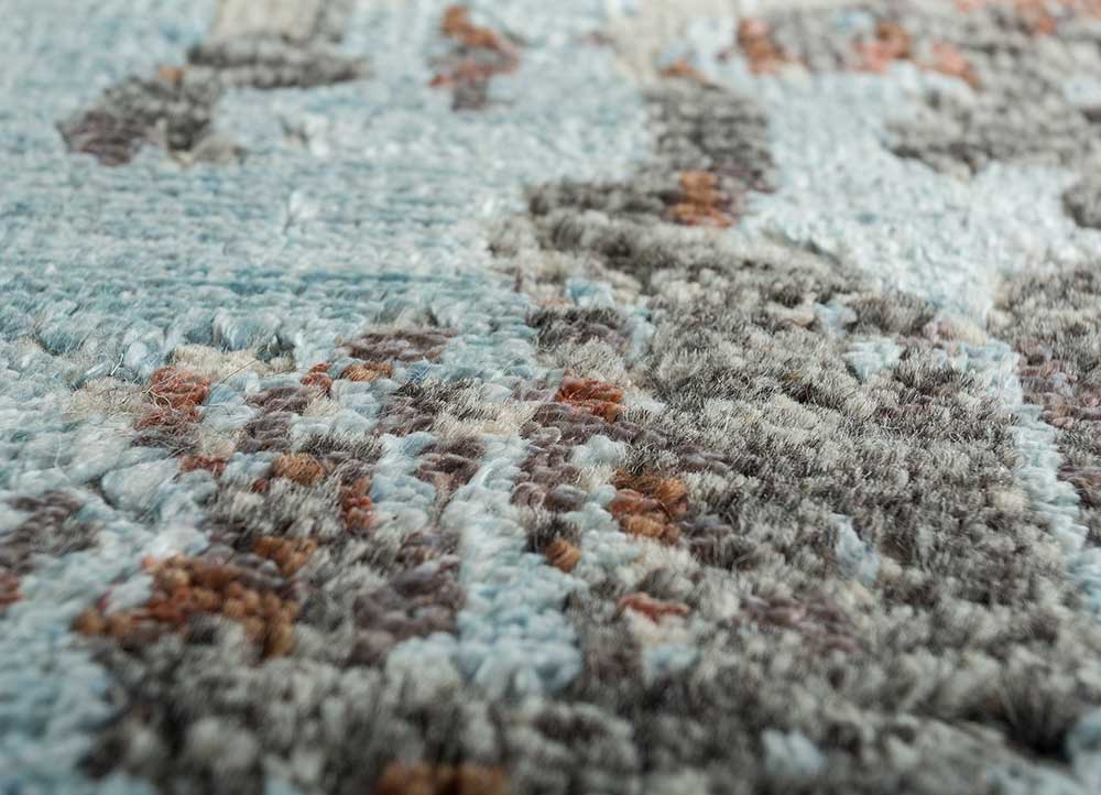 esme green wool and bamboo silk hand knotted Rug - CloseUp