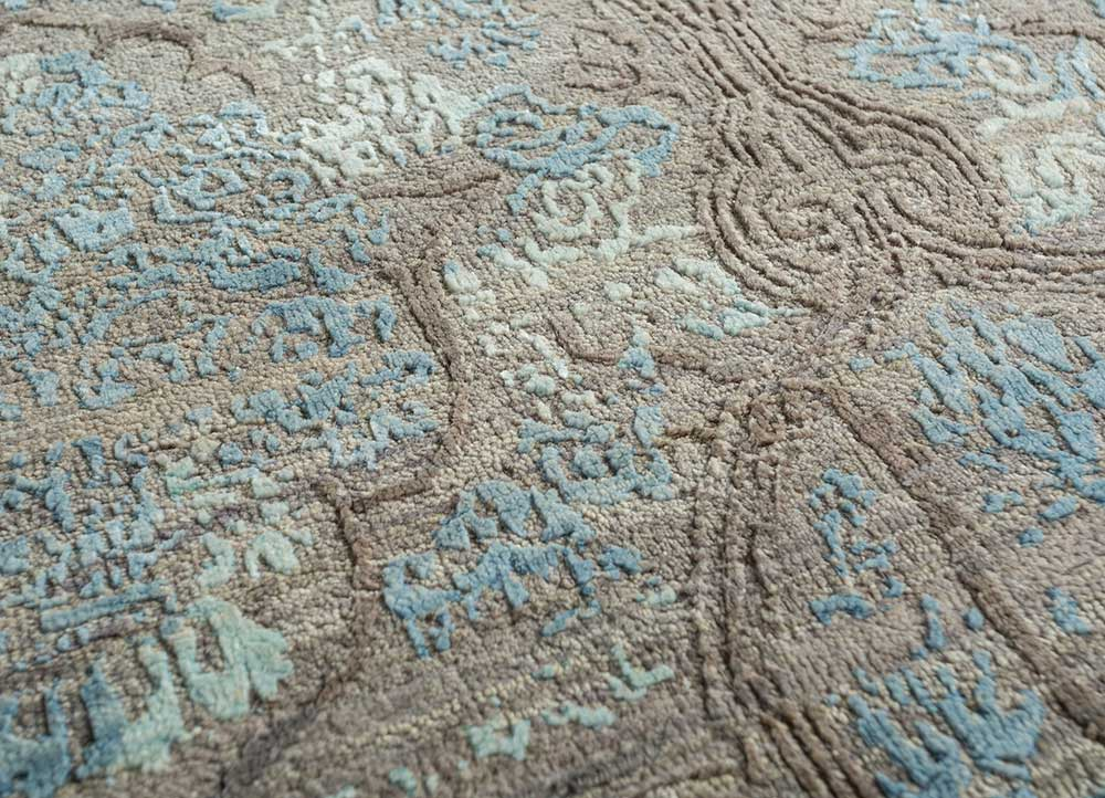 blithe beige and brown wool and bamboo silk hand knotted Rug - CloseUp