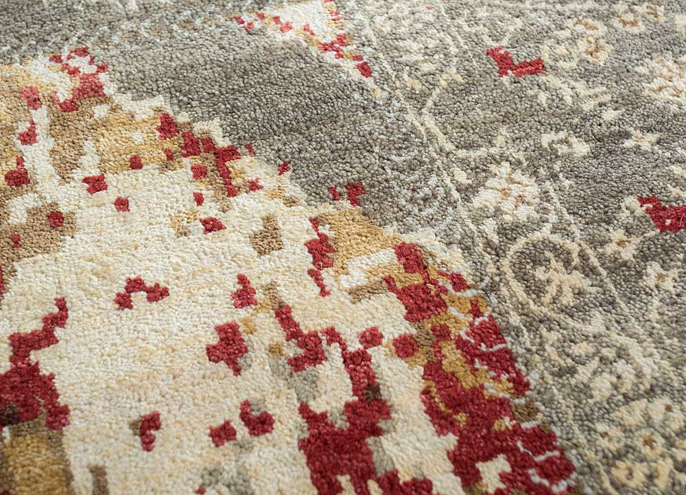 pansy red and orange wool and bamboo silk hand knotted Rug - CloseUp