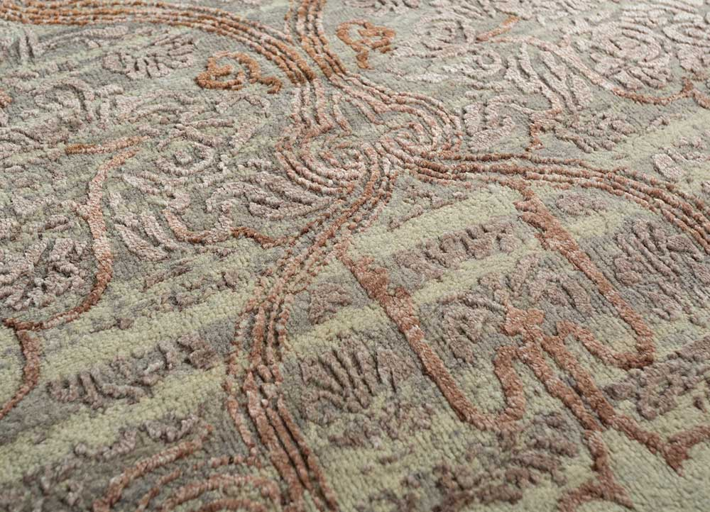 blithe grey and black wool and bamboo silk hand knotted Rug - CloseUp