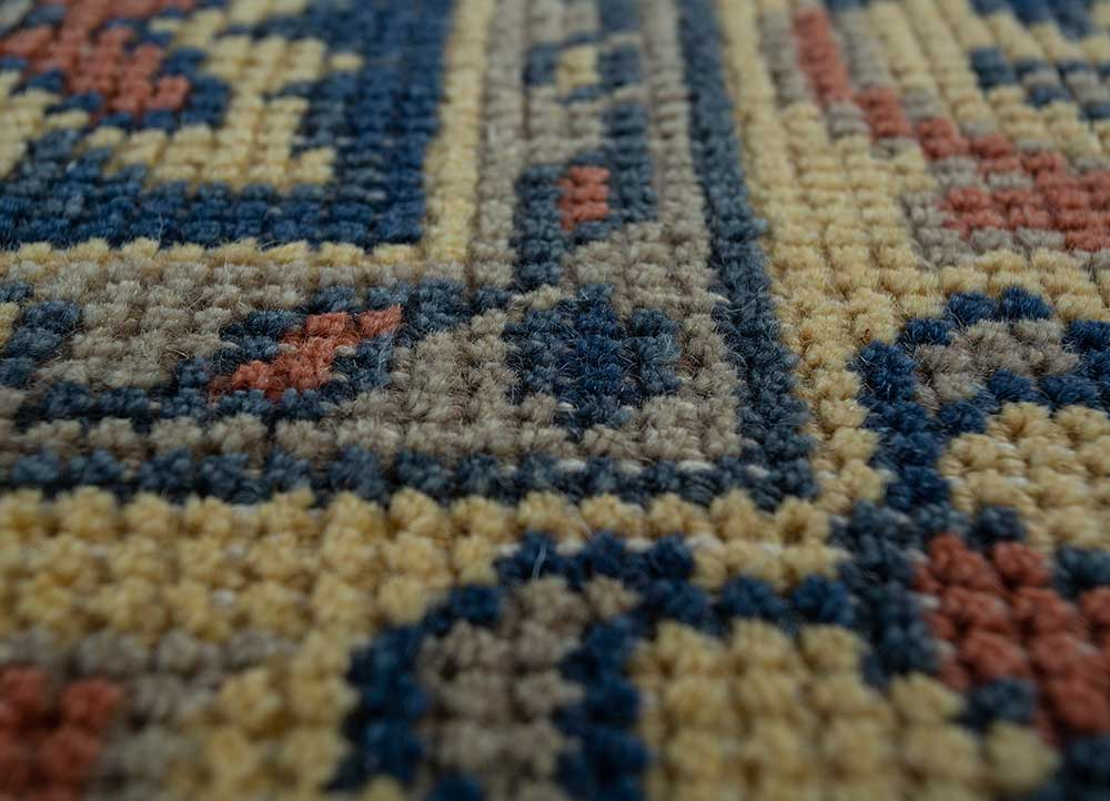 erbe blue wool hand knotted Rug - CloseUp