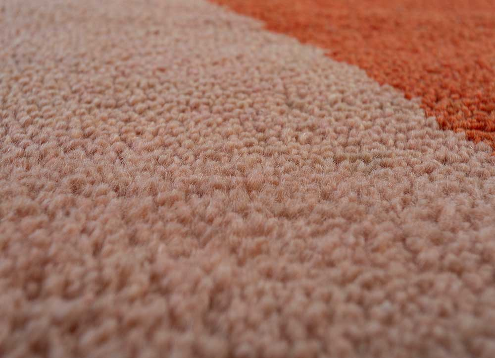 cleo red and orange wool hand knotted Rug - CloseUp