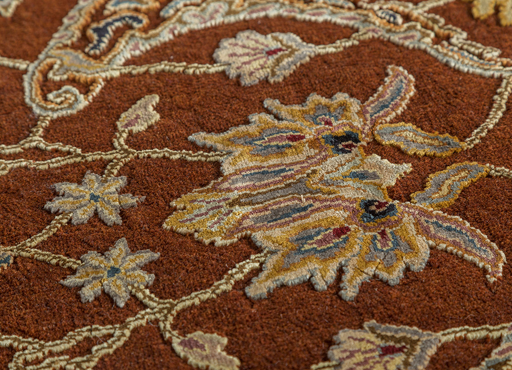 aurora red and orange wool and silk hand knotted Rug - CloseUp