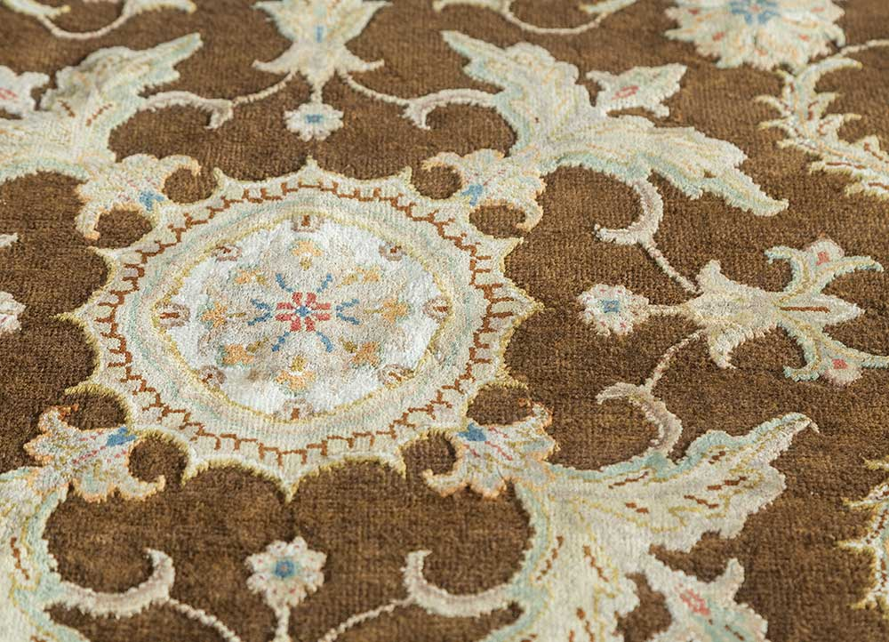 aurora beige and brown wool and silk hand knotted Rug - CloseUp