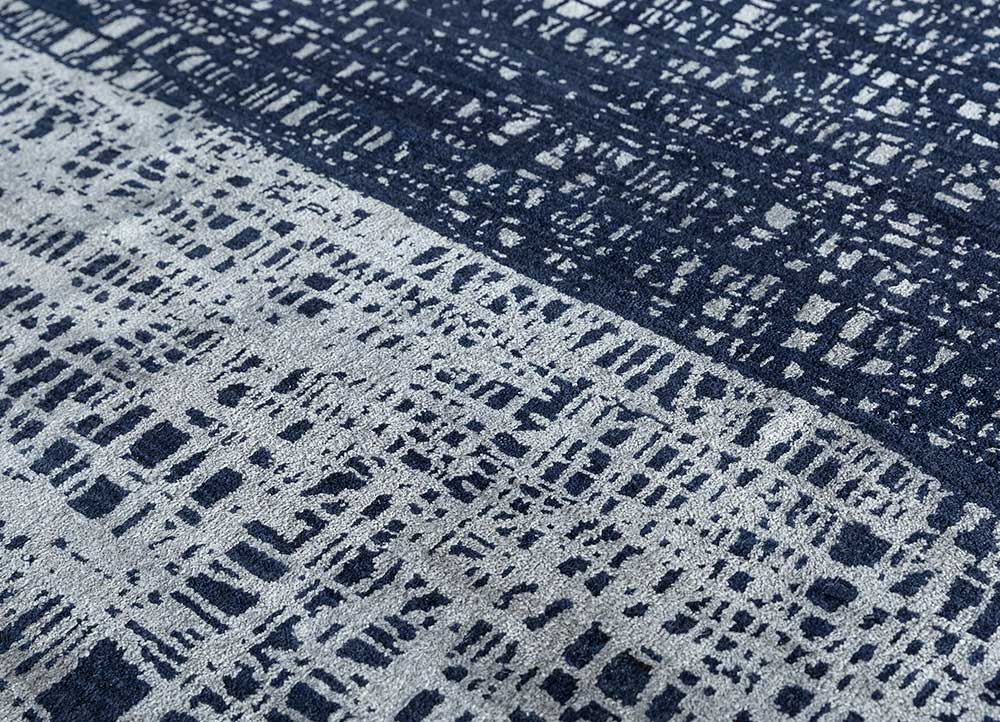 free verse by kavi blue wool and silk hand knotted Rug - CloseUp