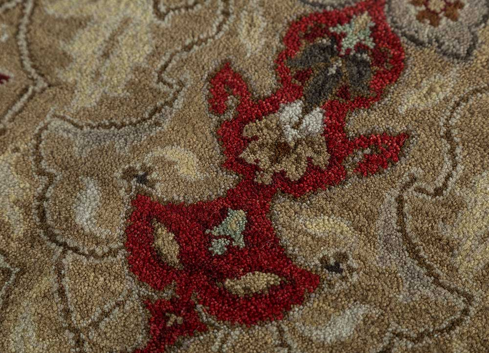 biscayne beige and brown wool hand knotted Rug - CloseUp
