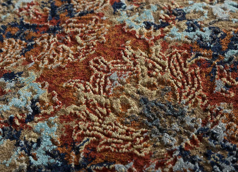 blithe red and orange wool and bamboo silk hand knotted Rug - CloseUp